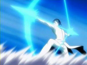 Uryuu Ishida, un Quincy nell'atto di scoccare una delle sue frecce spirituali