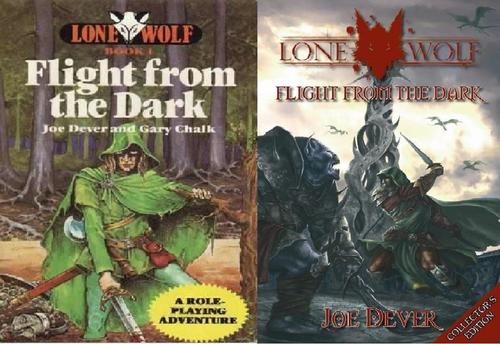la prima e l'ultima copertina di Flight from the Dark