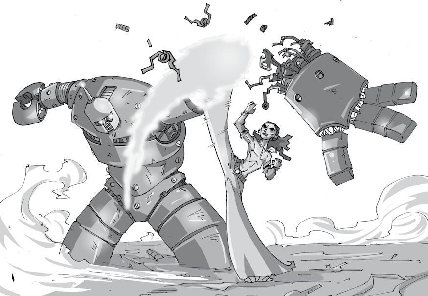 Il giovane Solchiamante Reth usa la sua arte del Sole Ardito contro i robot dell'Impero d'Acciaio. Un tropo così scontato da essere assolutamente perfetto.