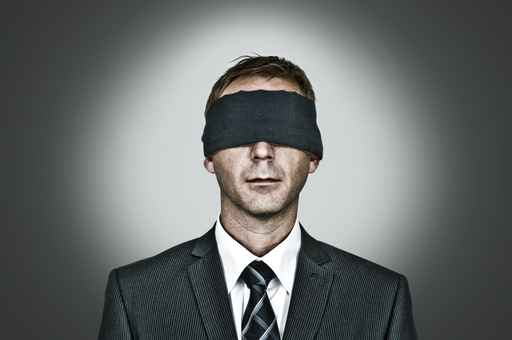 Man blindfolded